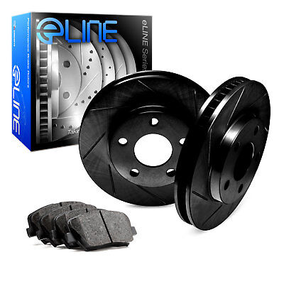 For Ford, Lincoln Flex, MKS, Taurus Rear Black Slotted Brake Rotors+Ceramic Pads