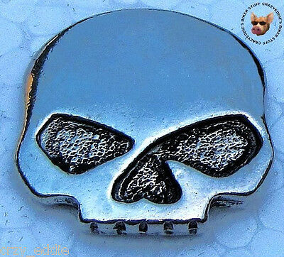 Pewter Skull Vest Jacket Pin ** Made In Usa  ** Motorcycle Biker Pin Willie