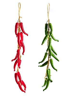 Best Artificial 60cm Chilli Peppers Hanging String Home Decor Vegetable Fruit