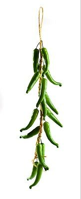 Best Artificial 60cm Green Chilli Peppers Hanging String Home Vegetable Fruit