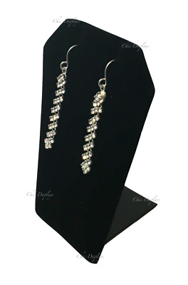 "Black Velvet Earring Display Metal Base Pendant Stand Showcase Display 3 1/4""t"