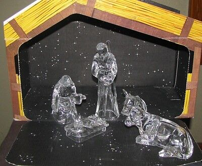 Cristal d'Arques 5 Piece Lead Crystal Nativity in Original Box Made in France