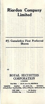 Old shares RIORDON COMPANY LIMITED Royal SEcurities Corp. 1920 certificate (b)