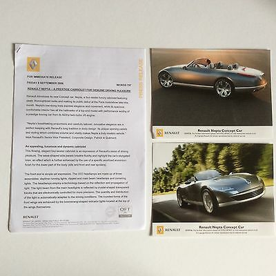 Renault Nepta Concept Car Press Release. Collectable Item Pr0075