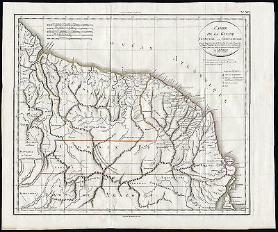 Rare Antique Map-FRENCH GUYANA-SURINAME-Jean Baptiste Poirson-Tardieu-1803