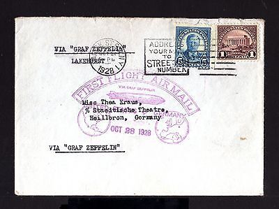 5576-USA-AIRMAIL ZEPPELIN COVER NEW YORK to HEILBRON (germany)1928.First flight