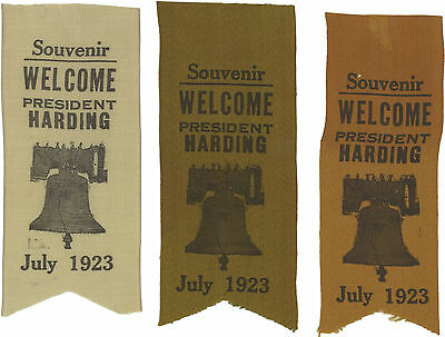 Group of 3 silk ribbons WELCOME PRESIDENT Warren G. HARDING July 1923 AK WA CA