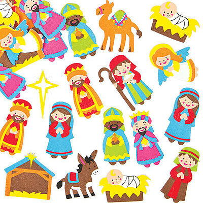 Baker Ross Christmas Children's Crafts Nativity Foam Stickers (Pack of 96)