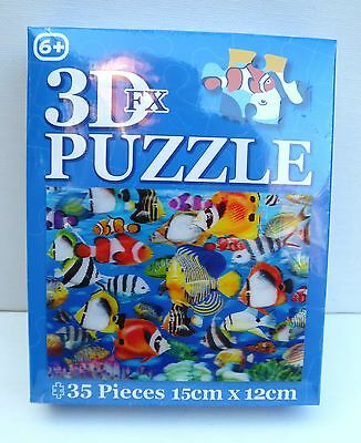 3D FX 35 PIECE JIGSAW PUZZLE with Exotic Fish (15cm x 12cms) in a GIFT BOX-NEW