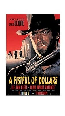 A FISTFUL OF DOLLARS ~ RED 24x36 MOVIE POSTER Clint Eastwood Sergi Leone Western