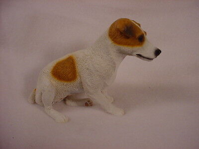 SMOOTH COAT JACK RUSSELL BROWN dog HAND PAINTED FIGURINE Resin COLLECTIBLE puppy