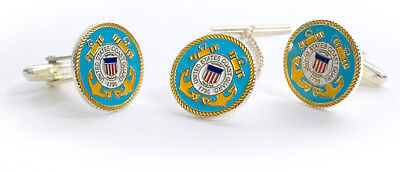 Uscg Coast Guard Color Tie Clip And Cufflinks Boxed Set