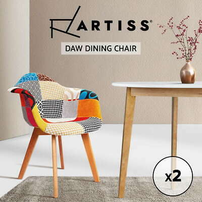 2x Artiss Retro Replica Eames Eiffel DAW Fabric Dining Chairs Cafe Armchair