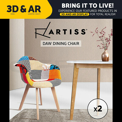 Artiss Dining Chairs Retro Replica Eames DAW Fabric Chair Dining Chairs Cafe x2