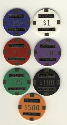100 Nevada Club Brass 15gr Poker Chips 7 Denominations Las Vegas FREE SHIPPING *