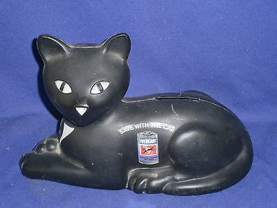 Vintage Eveready Save with the Cat Plastic Advertising Coin Bank 8½inch 1981