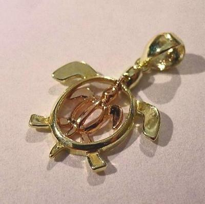 18mm Hawaiian 2T Solid 14k Green Rose Gold Mother Baby Petroglyph Turtle Pendant
