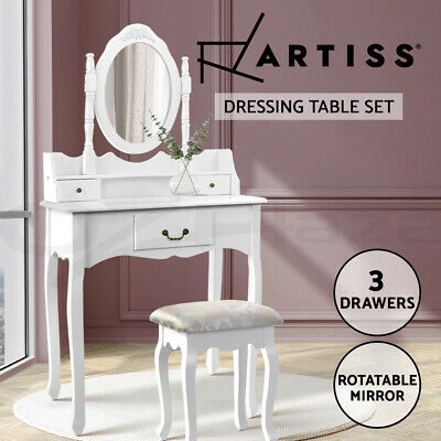 Luxury Dressing Table & Stool Mirror Jewellery Cabinet 3 Drawers Organizer