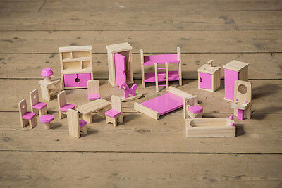 Children's wooden dolls house furniture set with pink details for age 3+