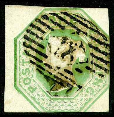 Sg54, SCARCE 1s pale green, CUT SQUARE, good used. Cat £850.