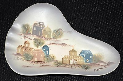 Sascha Brastoff Mid Century Modern Houses Rooftop bigfoot dish ashtray signed