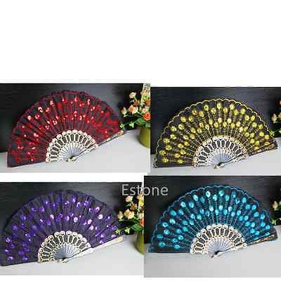 Colored Embroidered Folding Sequins Hand Fan Lace Flower Wedding Party Decor New
