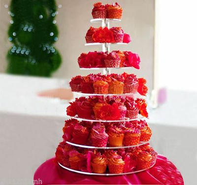 HOMCOM 7 Tier Crystal Clear Acrylic Cupcake Stand Wedding Display Cake Tower