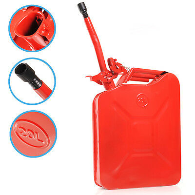 20L 20 Litre Metal Petrol Diesel Fuel Gasoline Water Oil Red Car Jerry Can Tank