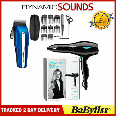 BaByliss Pro Speed Professional Hair Dryer + Men's Hair Clipper Trimmer Kit Set