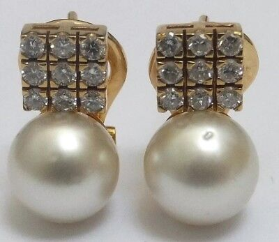 Pearl and Diamond Vintage 18 carat yellow Gold Drop Earrings
