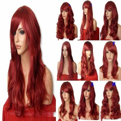 RED Wig Natural Long Curly Straight Wavy Synthetic Ladies Wig Party Fashion UK
