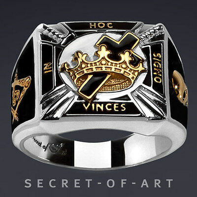 Masonic Ring Knights Templar Silver 925 Black In Hoc with 24K-Gold-Plated Parts