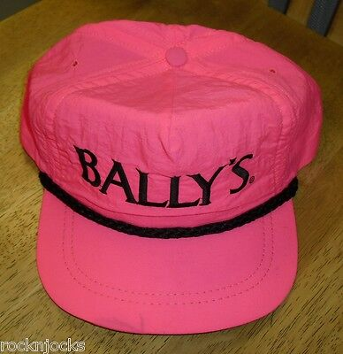 VINTAGE BALLY'S LAS VEGAS CASINO  HAT leather STAPBACK 90's/ 80's w/ black rope