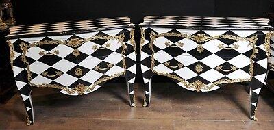 Pair Art Deco Bombe Chests Commodes Diamond Inlay Furniture