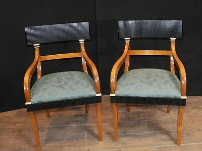 Pair Swedish Biedermeier Arm Chairs Walnut Deco Chair Furniture