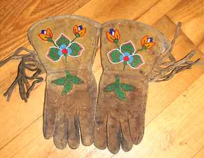 Vintage Antique 1800's Old Native American Beaded Leather Gauntlets Gloves