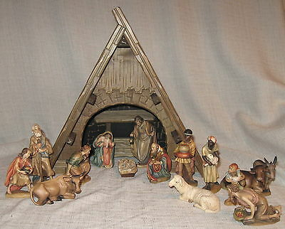 "Anri Nativity 4 1/2"" Set with 14 Pieces and Creche with Music Box"