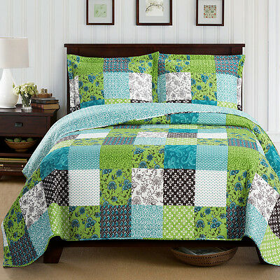 Rebekah Full Size Oversized Coverlet 3 PC Set Luxury Microfiber Printed Quilt