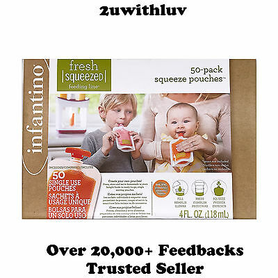 Infantino Fresh Squeezed Baby Food Pouches 50-Pack Squeeze Pouches
