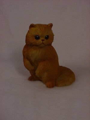 RED PERSIAN CAT FIGURINE kitty orange kitten PAINTED Resin Statue COLLECTIBLE