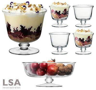 LSA Mouthblown Glass Trifle, Comport or Dessert Bowls Dish, Set of 1 or 4