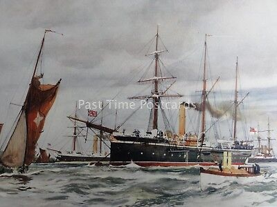 c1901 Print THE SWALLOW & THRUSH GUNBOATS 1890 by Charles Dixon