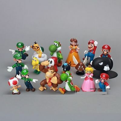 """A Super Mario Bros 1.5~2.5"""" Lot 18 pcs Action Figure Doll Playset Figurine Gift"""