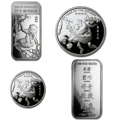 0,5 - 5 oz Lunar Jahr des Affe Year of the Monkey 999 Silber Silbermünzen TOP