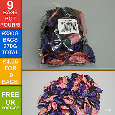 270G Scented Pot Pourri Craft Fragrance Coloured Purple Pink Peach Floral PP50