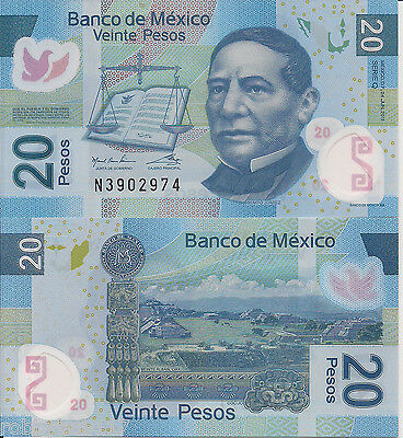 MEXICO 20 Pesos Banknote World Money Currency Note p122f 2011 Issue Polymer BILL