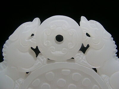 Plaque En Jade Blanc Mat Dragon Phenix Animal Feroce Pi Bouddha