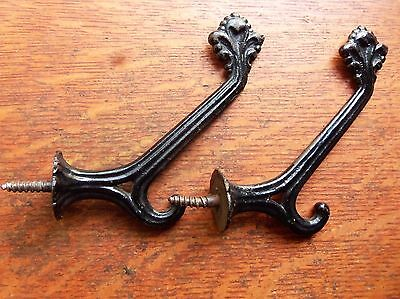 Two Antique Vintage Black Lacquered Iron Victorian Hat or Coat Hooks