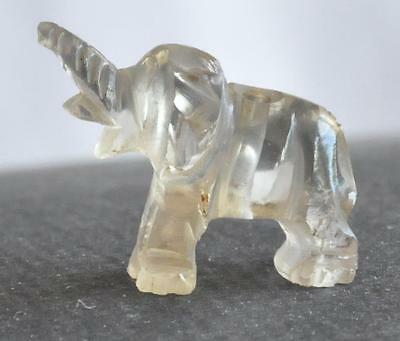Antique Chinese Rock Quartz Crystal Miniature 19mm Elephant Carved Bead Detailed