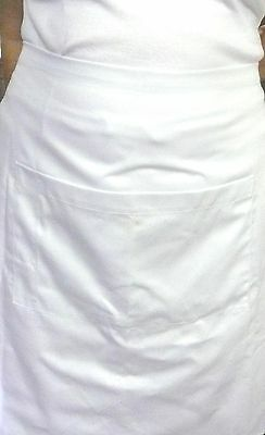 White Shin Length Waist Drill Apron+POCKET-Chef/Cook/Bistro/Waiter-QLD Made